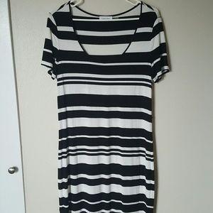 Calvin Klein Black & White Striped T-shirt Dress